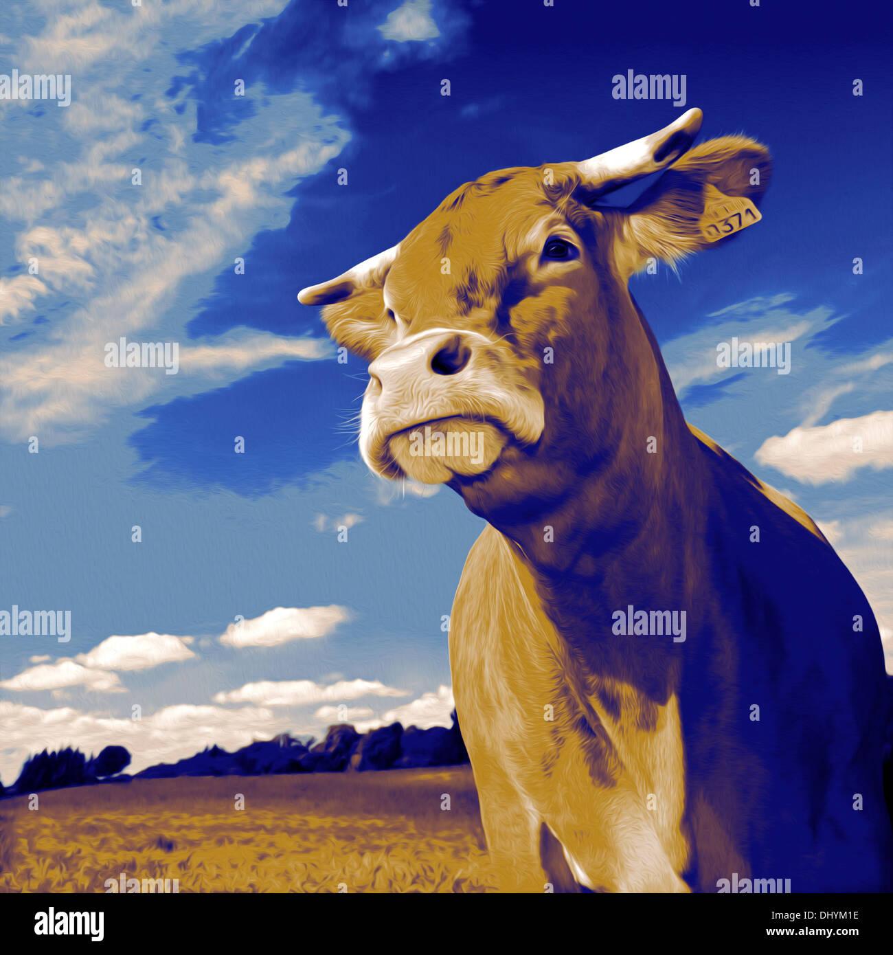Cow portrait in pop-art style. Portrait de vache façon Pop Art. - Stock Image