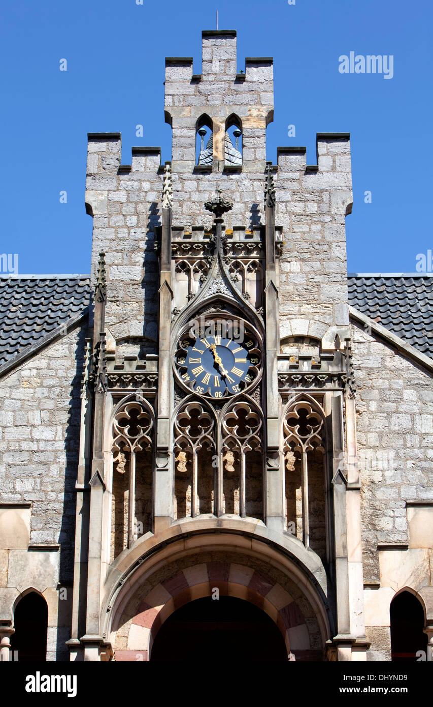 Old clock tower, Marienburg Castle, Pattensen near Hannover, Lower Saxony, Germany, Europe, Stock Photo