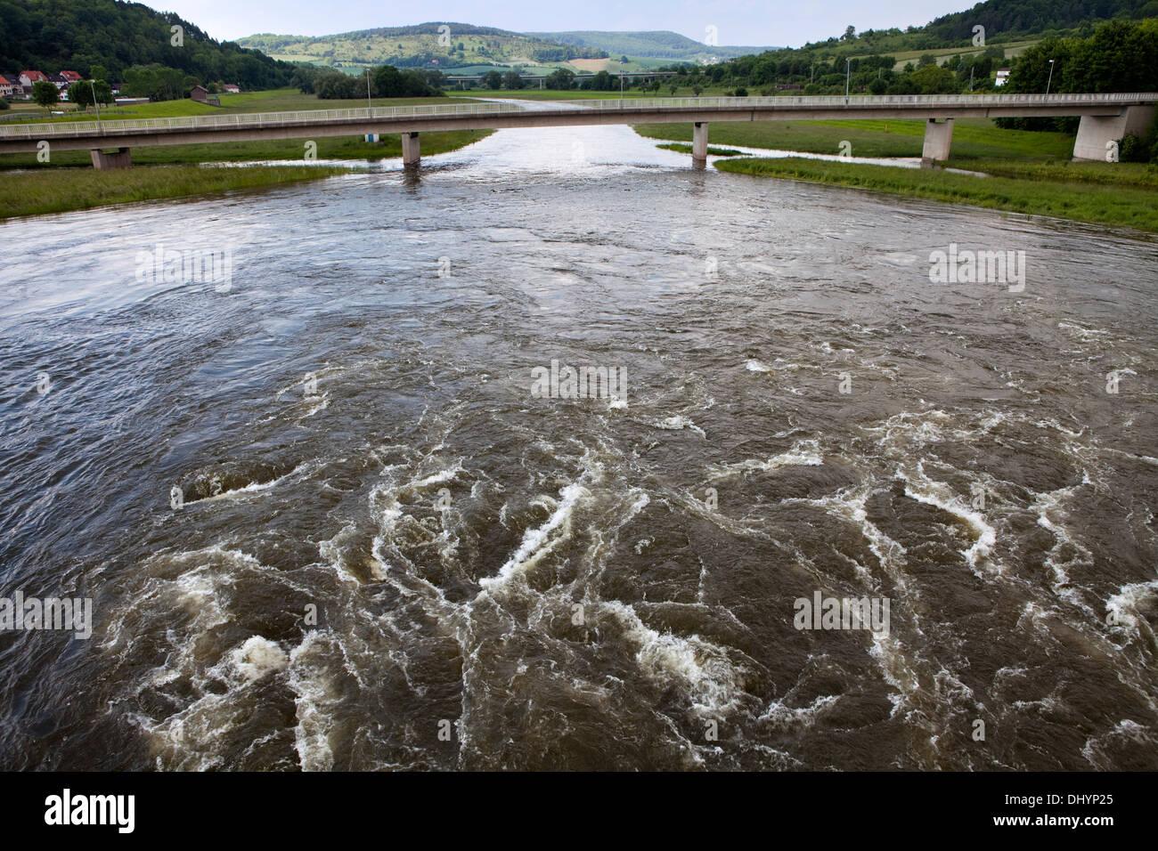 Flooded flood-retention basin of the Leine river, Salzderhelden, Einbeck, Lower Saxony, Germany, Europe, - Stock Image