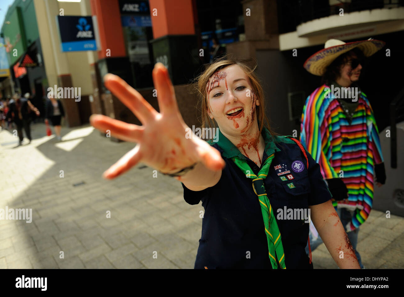 Zombie Girl Scout in the inaugural Zombie Walk, Perth, Western Australia - Stock Image