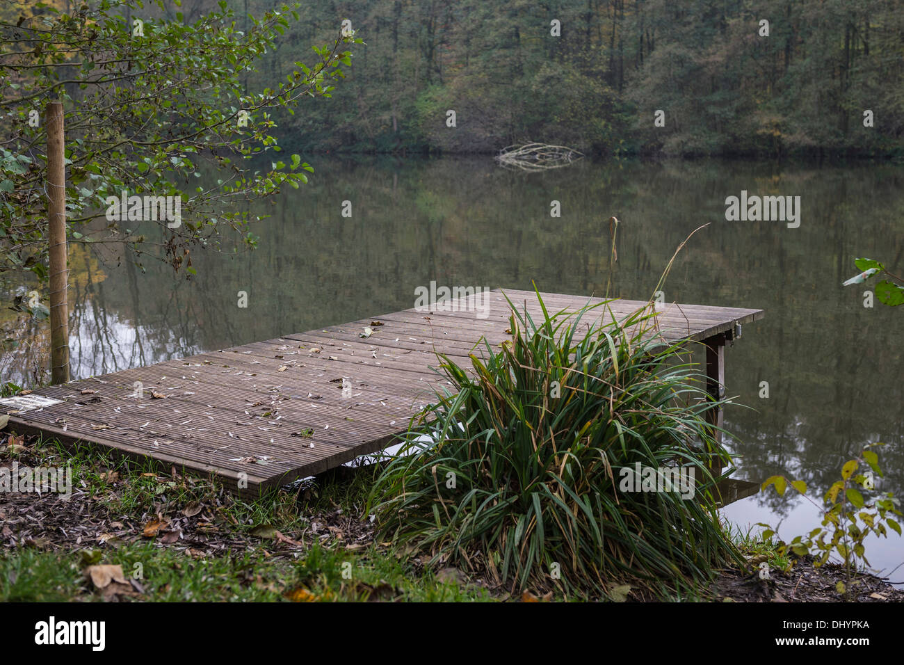 Jetty beside a lake in Germany - Stock Image