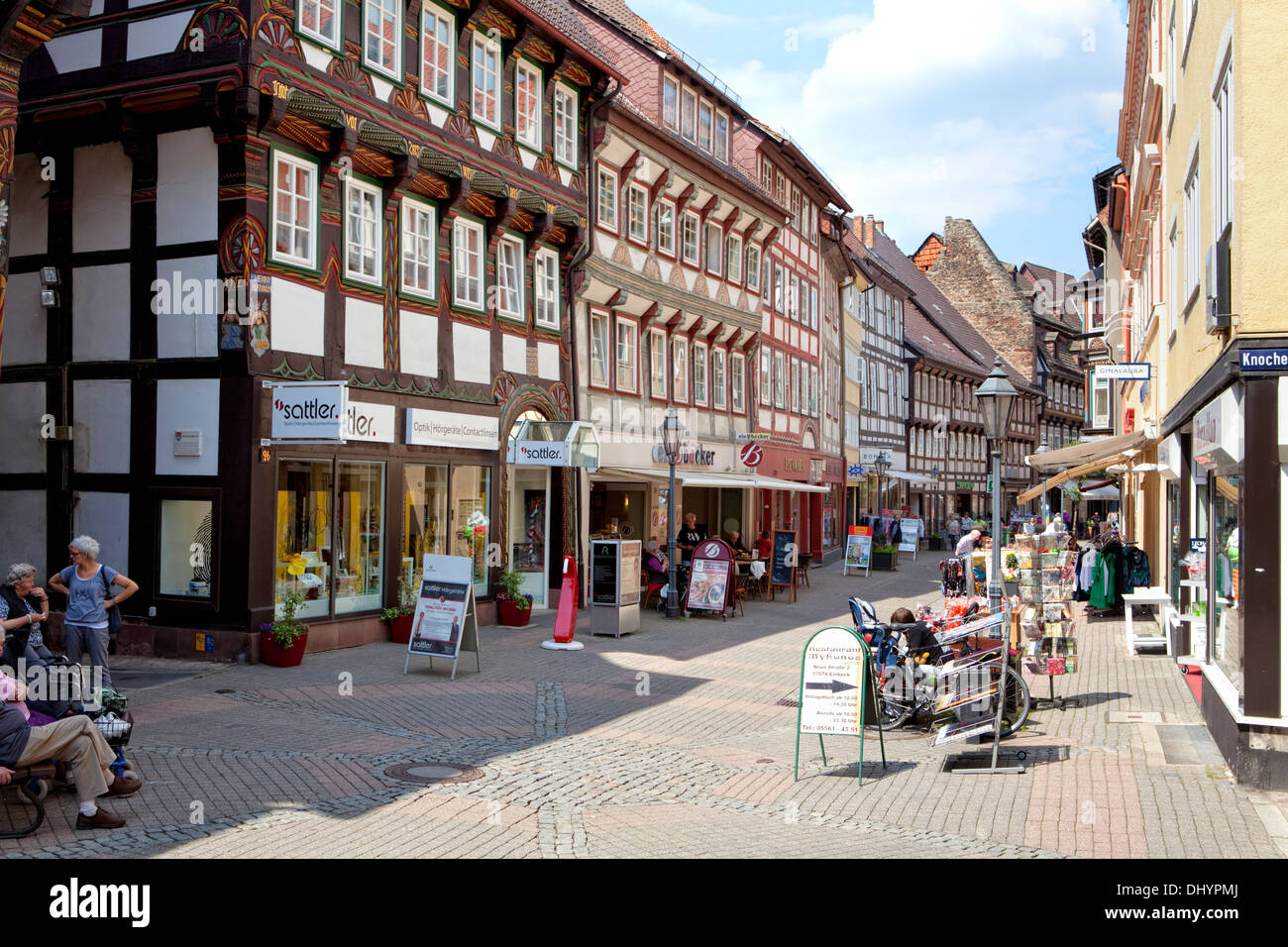 Half-timbered houses, Einbeck, Lower Saxony, Germany, Europe, - Stock Image