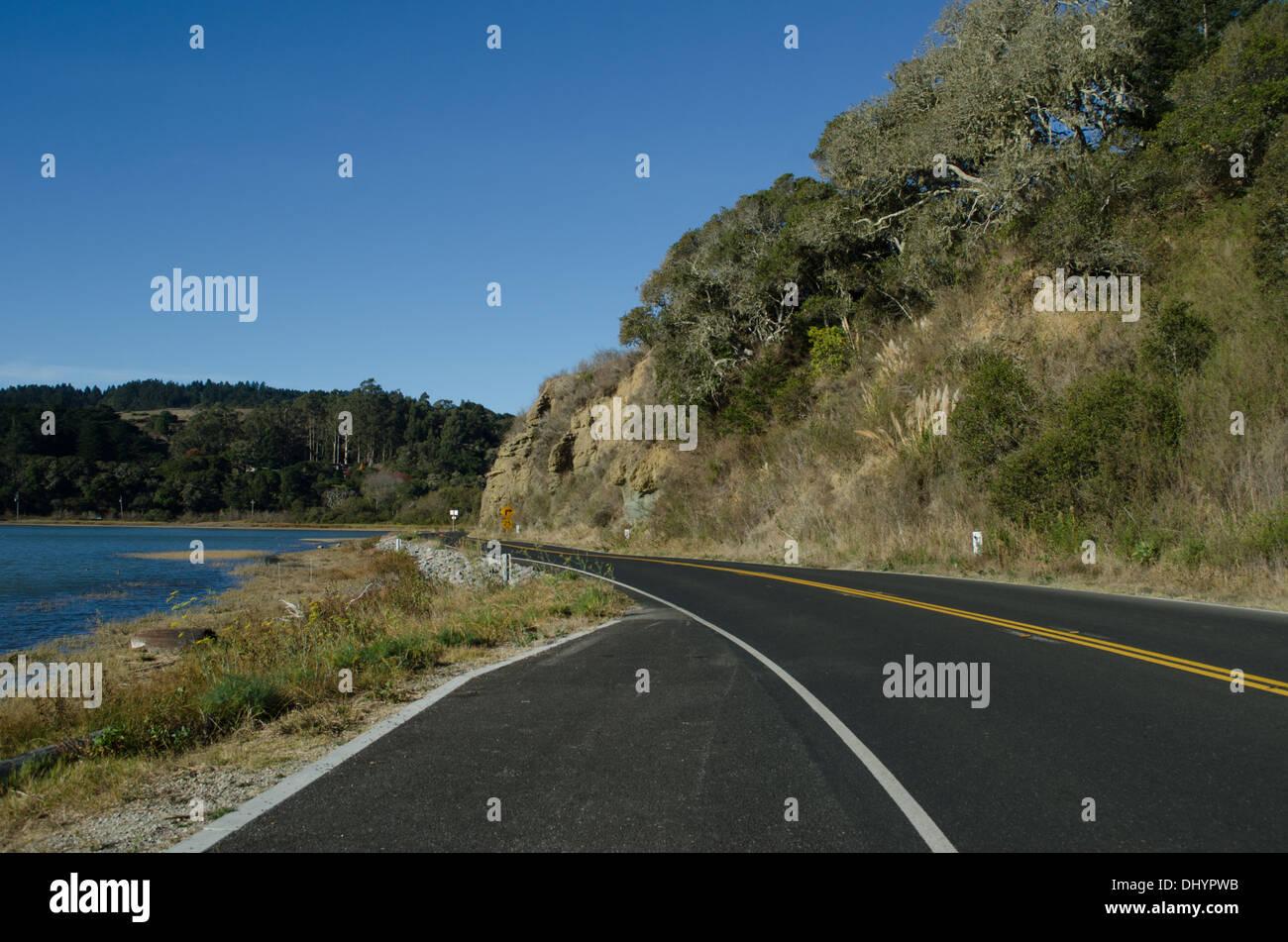 Highway 1 and Bolinas Lagoon, north of San Francisco - Stock Image