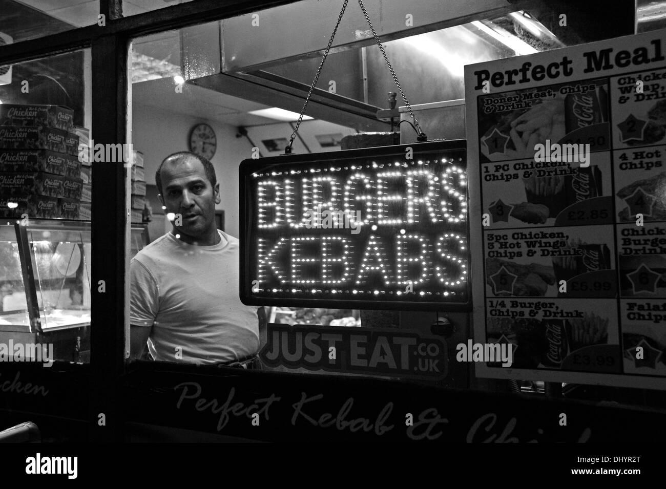 Kebab shop fast food takeaway in London Road Brighton UK - Stock Image