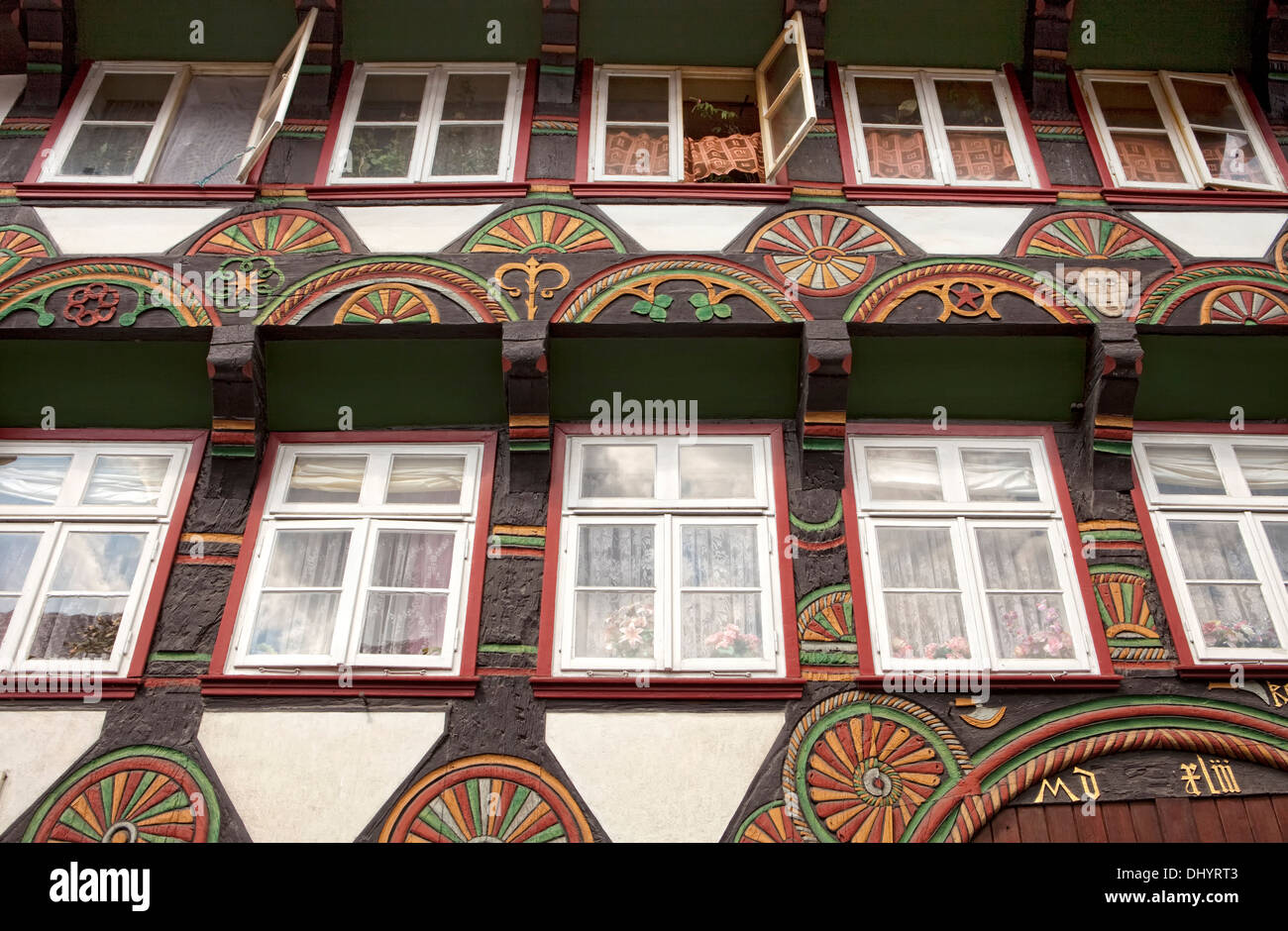 Half-timbered houses in the market square, Einbeck, Lower Saxony, Germany, Europe, - Stock Image