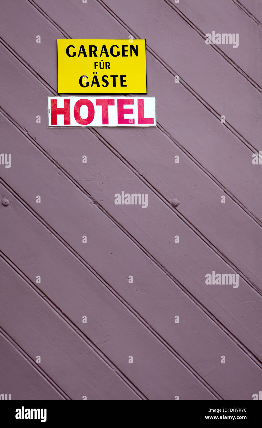 Garage door of a Hotel, parking only for guests, Germany - Stock Image