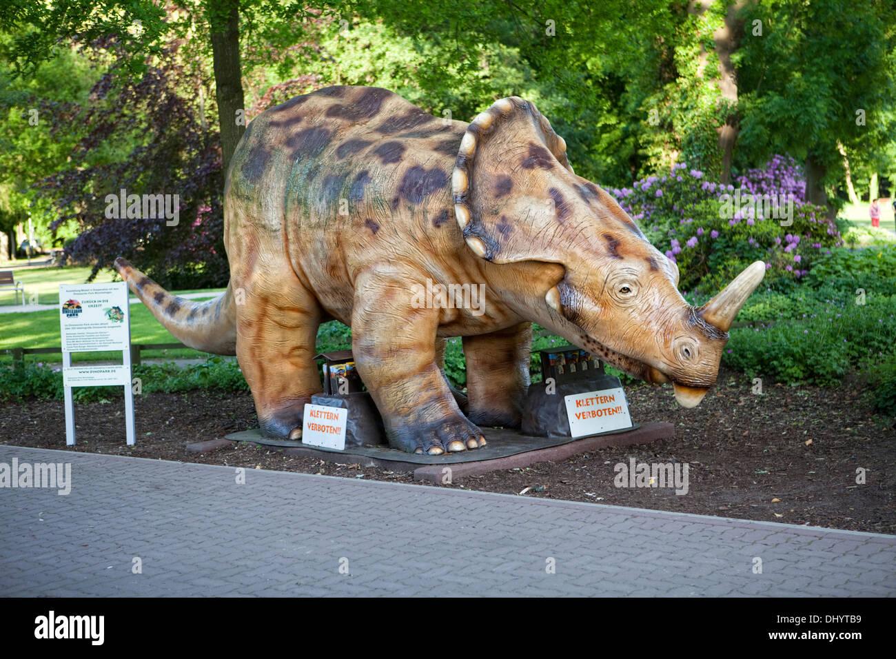 Model of a Dinosaur, Steinhuder Meer Nature Park, Steinhude Sea, Steinhude, Wunstorf, Lower Saxony, Germany, Europe - Stock Image