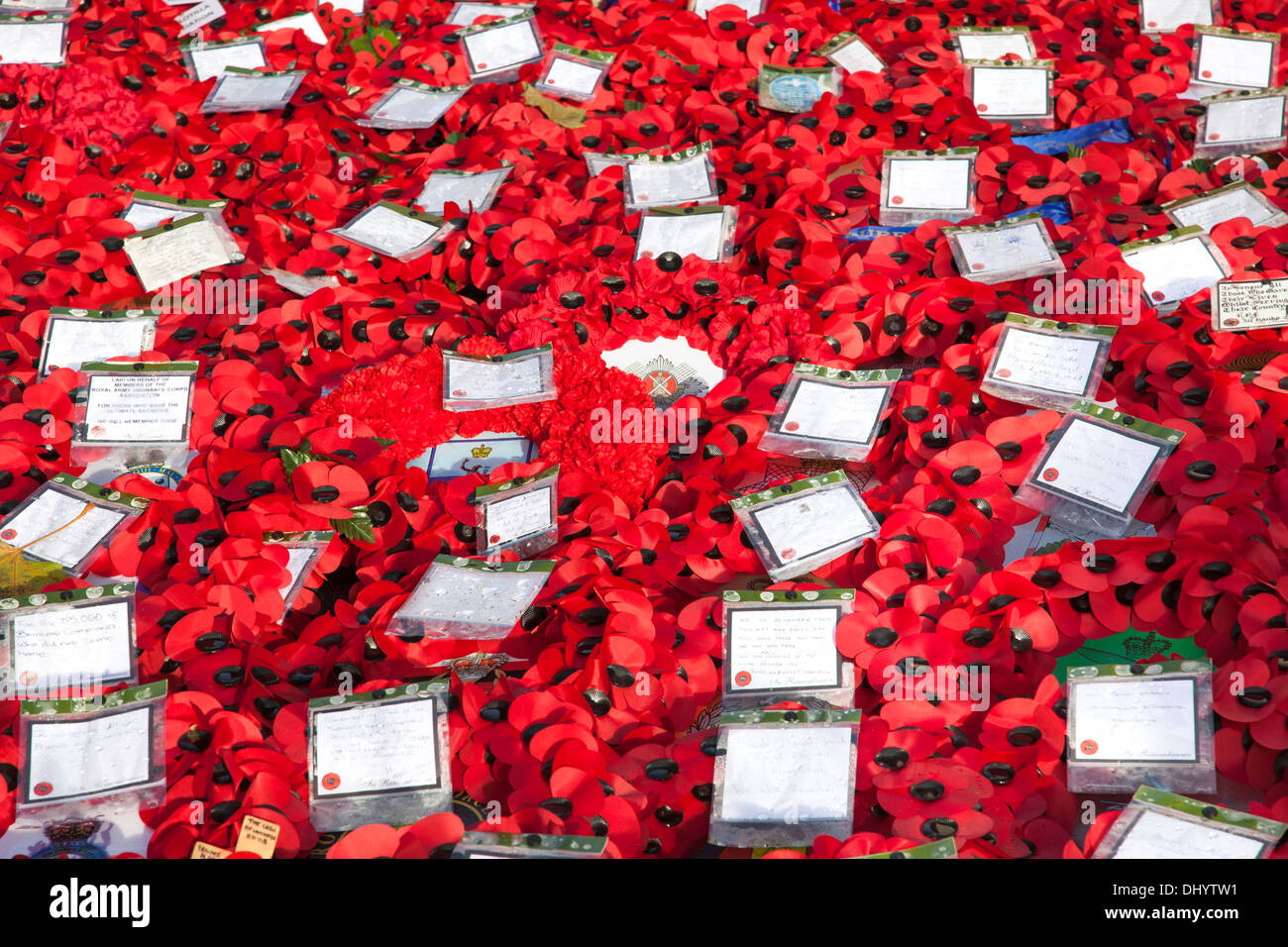 Remembrance Day poppy wreaths at the Cenotaph, Whitehall, Westminster, London. - Stock Image