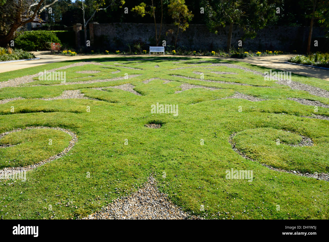 malahide castle lawn topiary design display shape shapes patterns patterned style styled stylised - Stock Image
