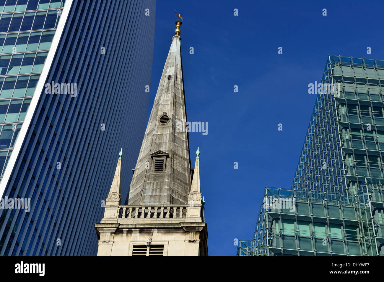 Church of St Margaret Pattens with 20 Fenchurch St and Plantation Place, Eastcheap, City of London, London EC3P, United Kingdom - Stock Image