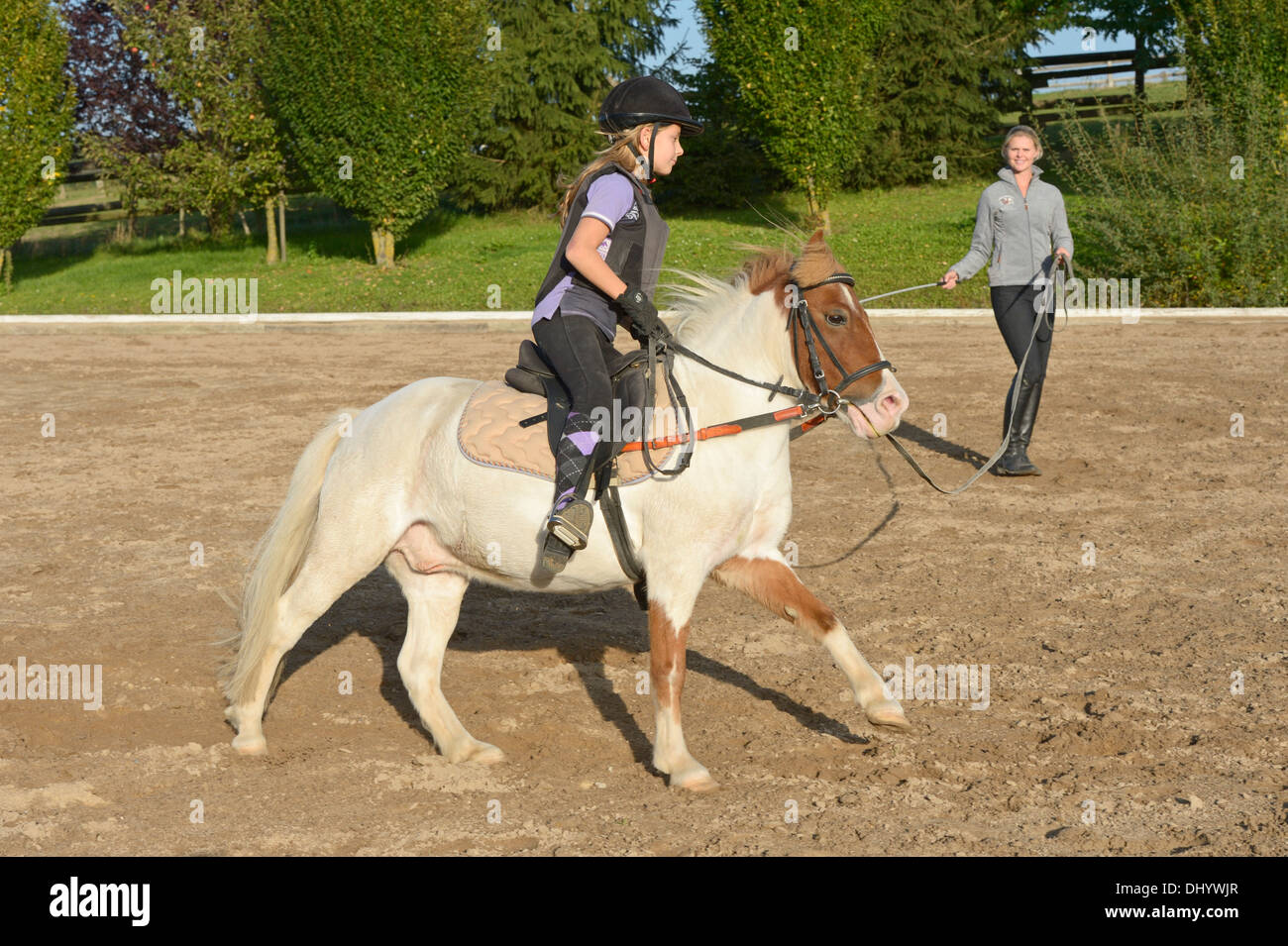 Girl wearing a body protector having a lunge lesson on a pony cantering - Stock Image