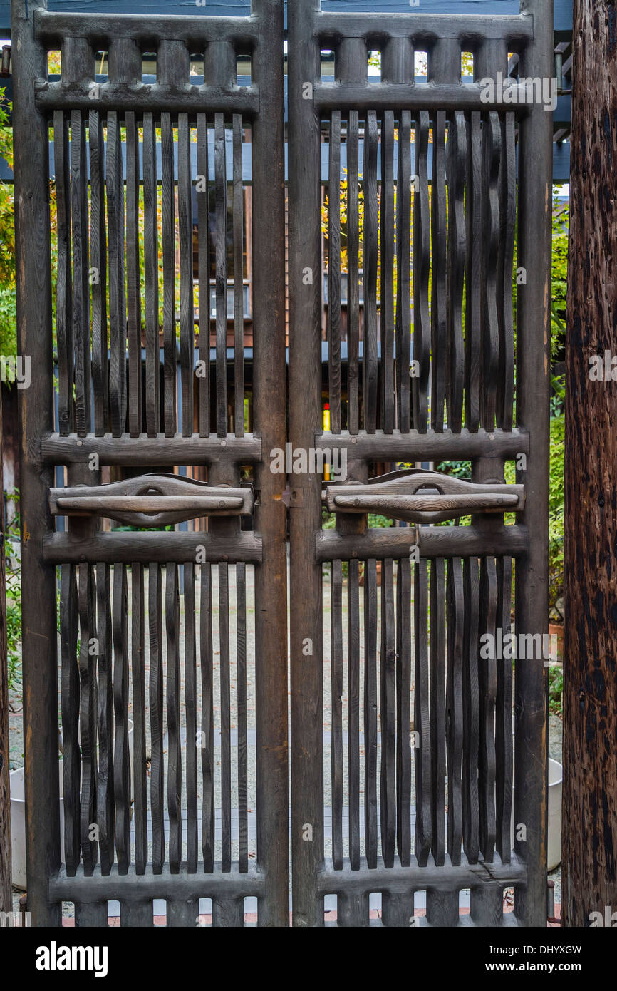 Hand-made gate latch at of the home of the famous artist/woodworker Sam Maloof. - Stock Image