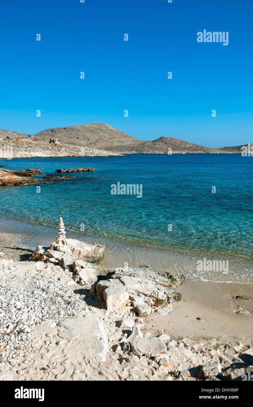 Griechenland, Dodekanes, Insel Chalki, Ftenagia-Strand - Stock Image