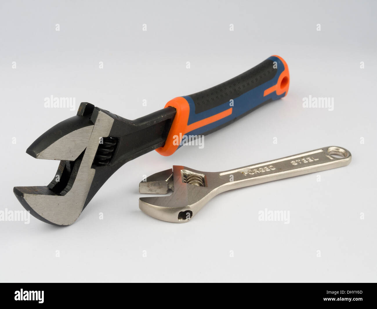 Adjustable wrenches (spanners) cutout isolated on white background - Stock Image