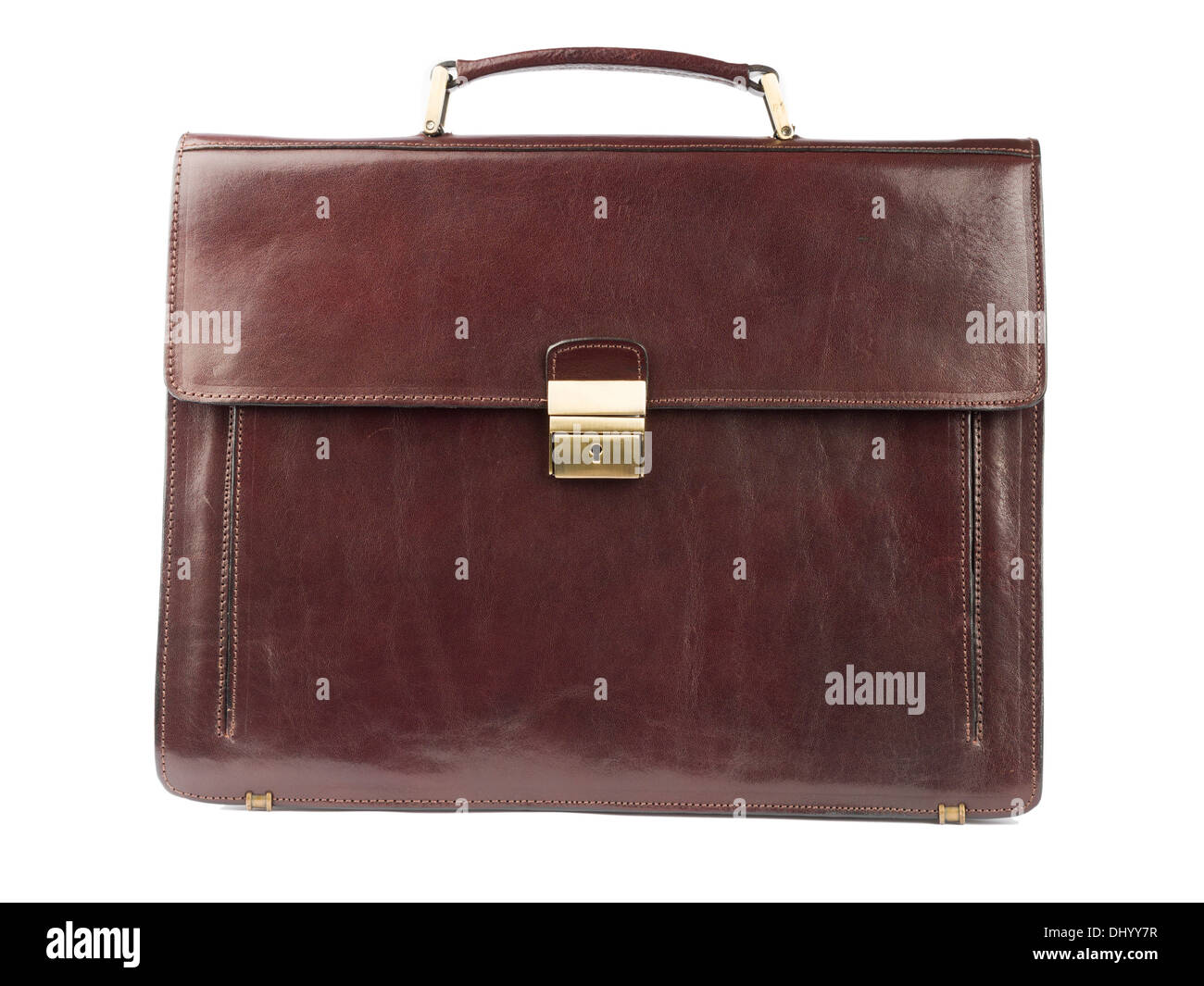 Brown leather briefcase isolated on white background - Stock Image