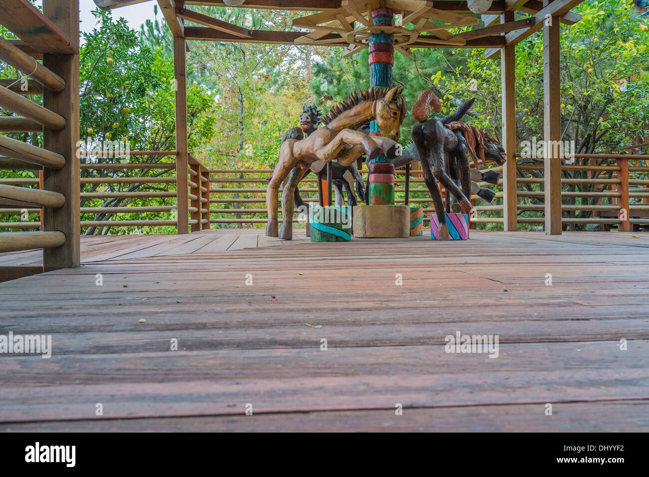 Wooden hand-made carousel by artist Mary Ann Voorhis, in the 'Maloof Collection' at the home and shop of woodworker Sam Maloof. - Stock Image
