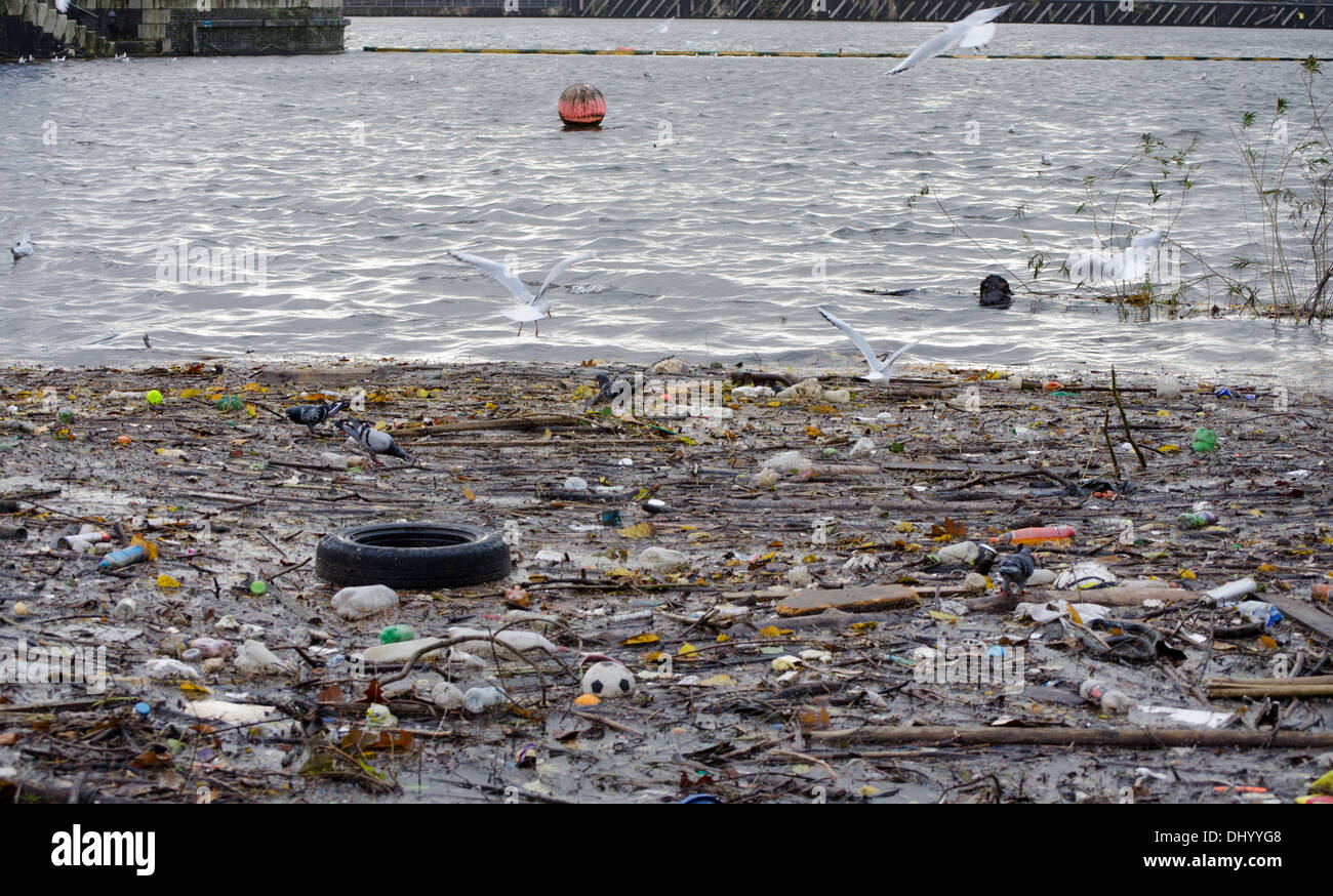 River polluted with rubbish - Stock Image