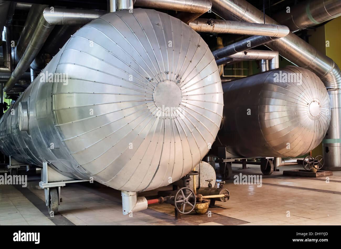 Close up of power plants steam turbine - Stock Image