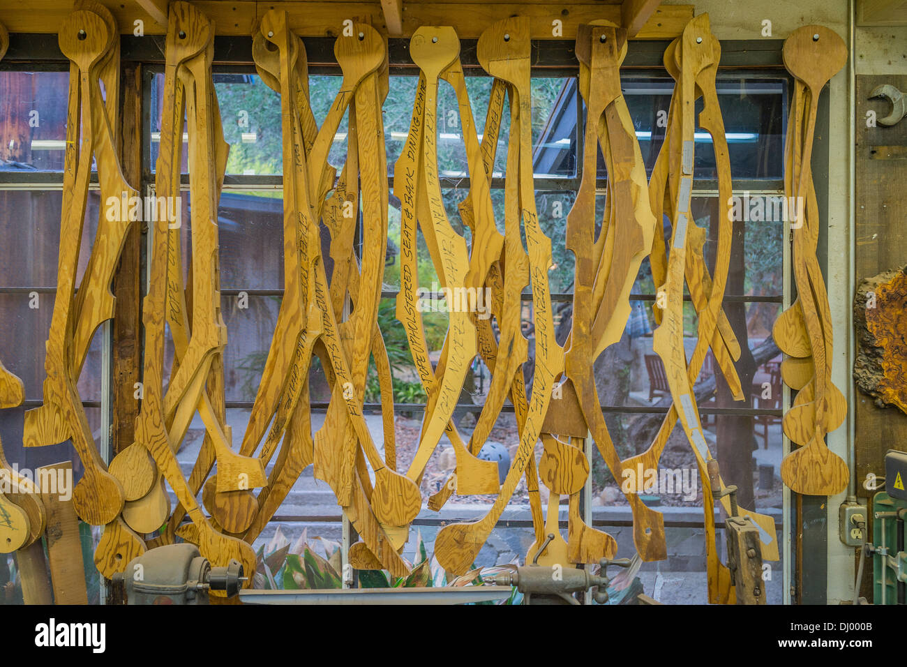 Wooden templates in Sam Maloof's shop of the famous artist/woodworker Sam Maloof. - Stock Image