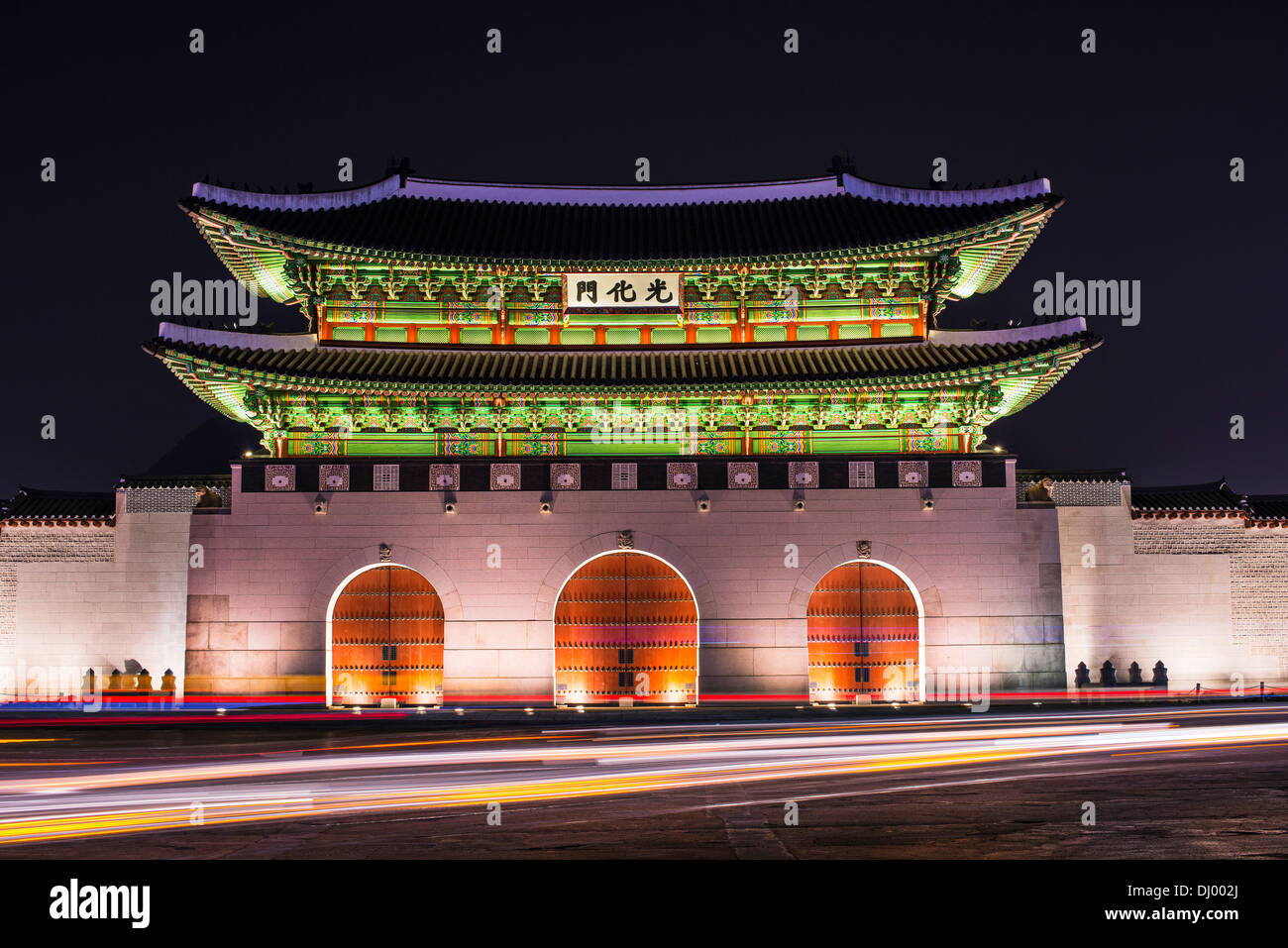Gwanghwamun Gate is the main gate of Gyeongbokgung Palace in Seoul, South Korea. - Stock Image