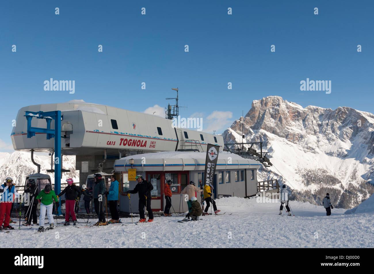 Tognola Ski lift, San Martino di Castrozza, Dolomiti. Stock Photo