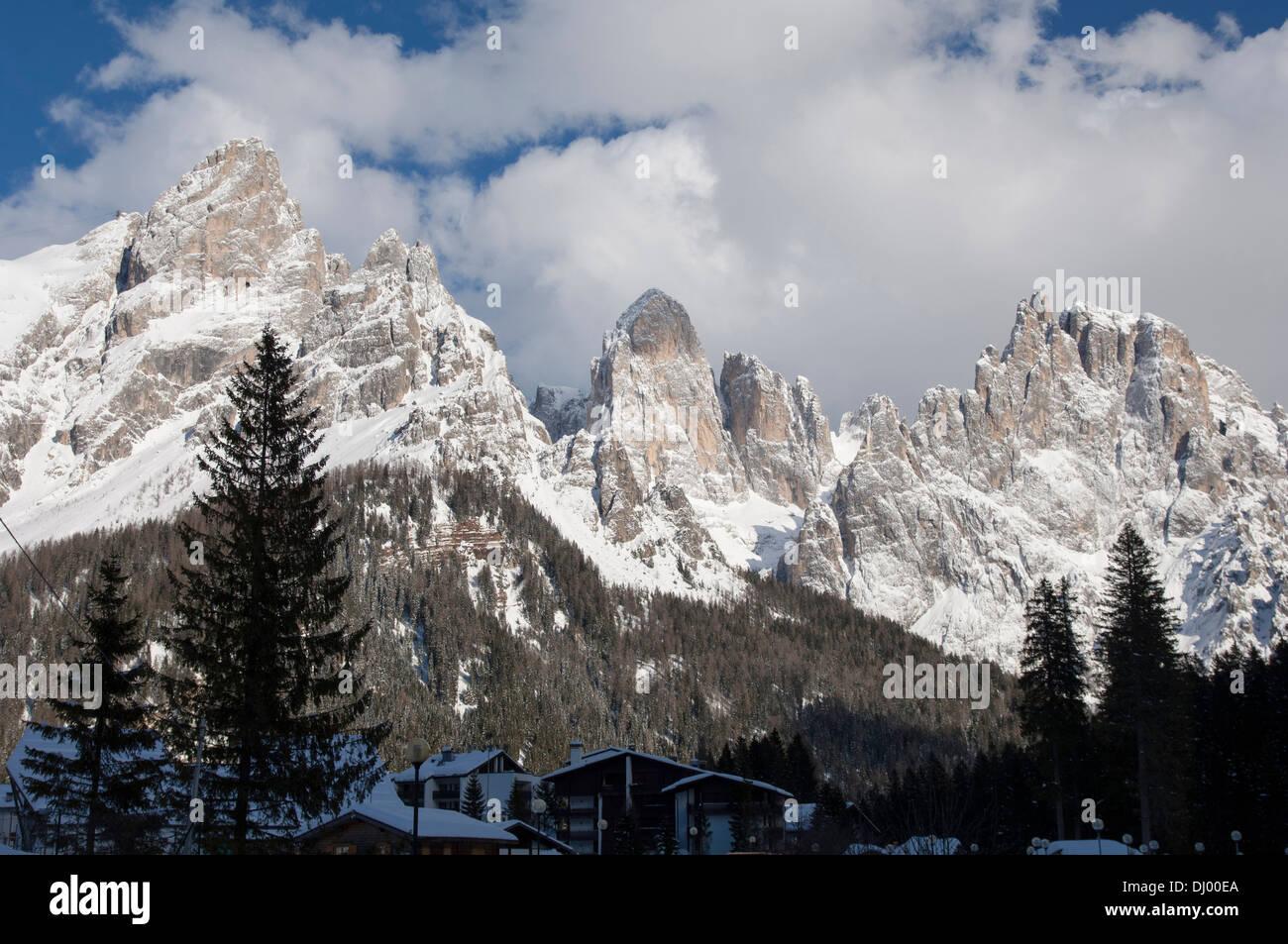 San Martino di Castrozza and Dolomiti on the background Stock Photo