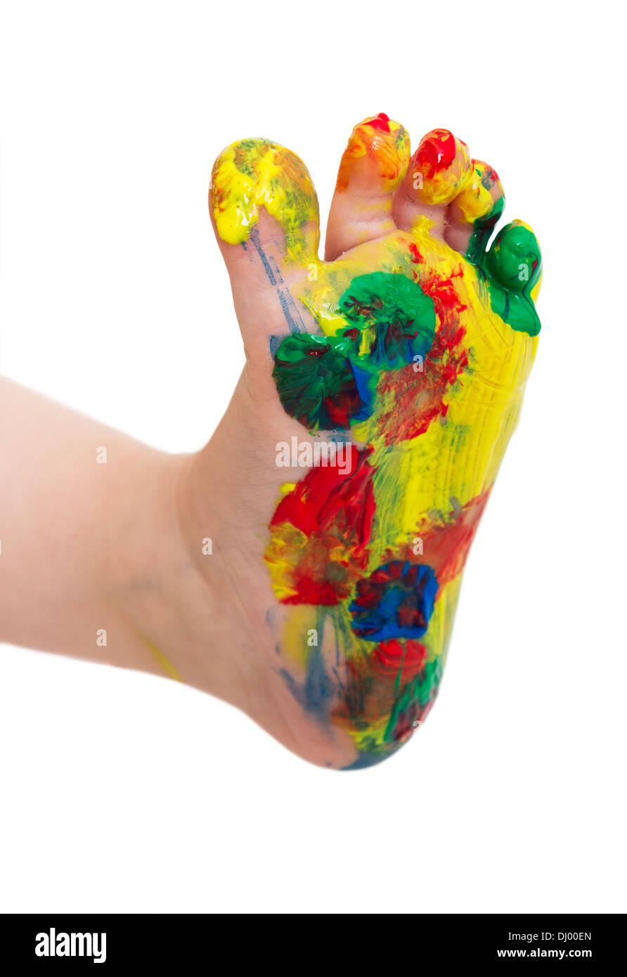 painted feet from young child isolated in white bachground - Stock Image