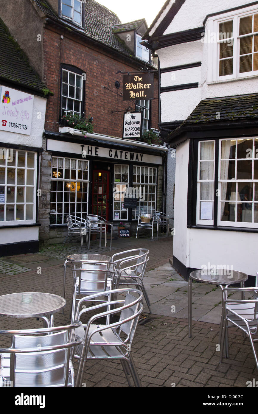 Evesham, a market town in Worcestershire England UK  The Gateway Cafe or tearooms Stock Photo