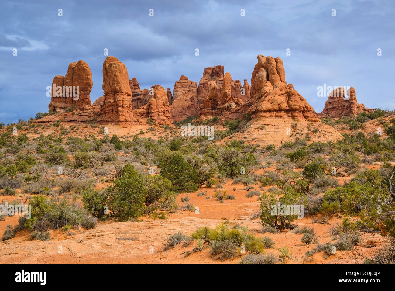 Rock formations near Windows Section, Arches National Park, Utah, USA - Stock Image