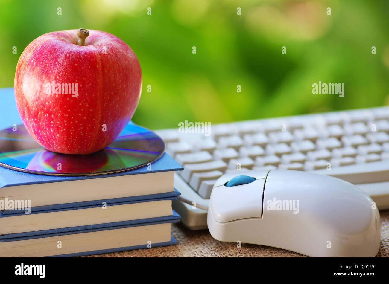 Red apple on book, DVD and mouse - Stock Image
