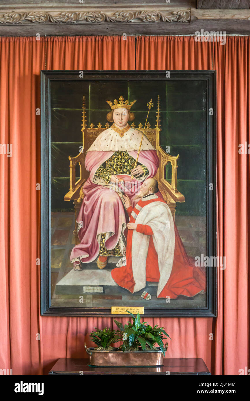 Painting in Leeds Castle depicting King Richard II and First Lord Lumley - Stock Image