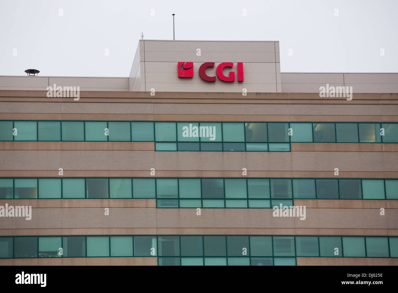 Signage outside of an office building occupied by the CGI Group. A subsidiary of CGI Group, CGI Federal, serves at the lead contractor on the troubled Heathcare.gov website - Stock Image