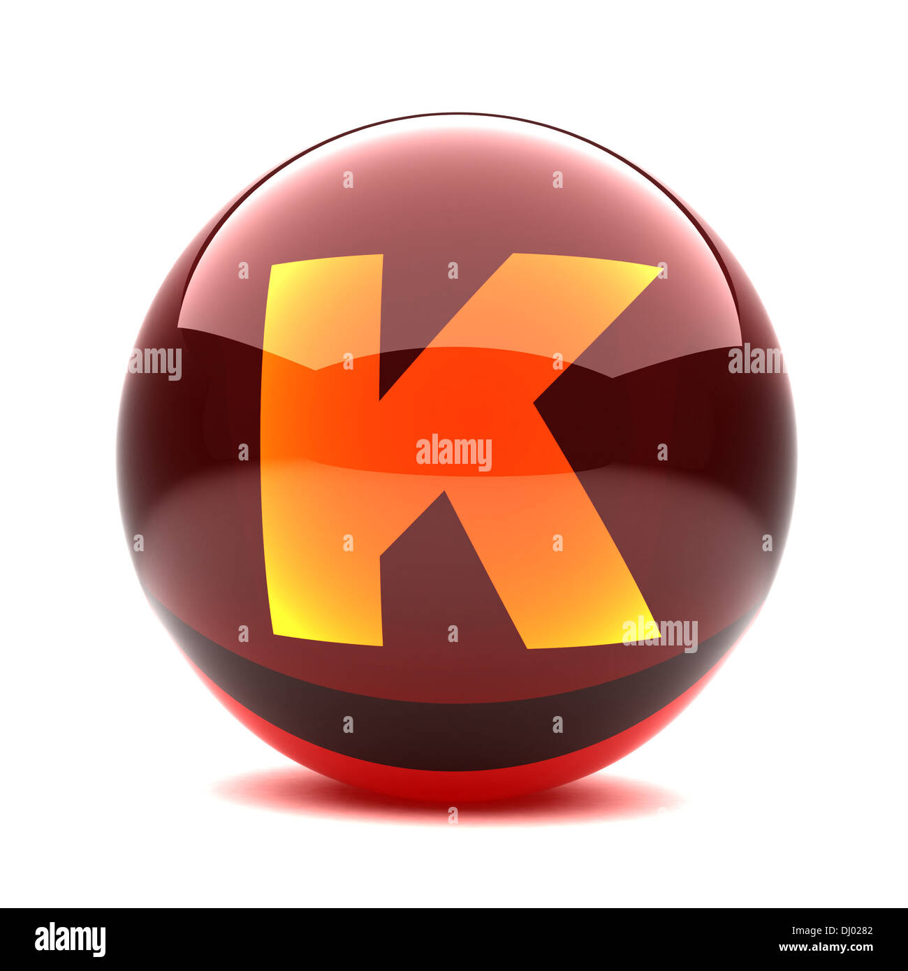 glossy sphere with orange letter - K - Stock Image