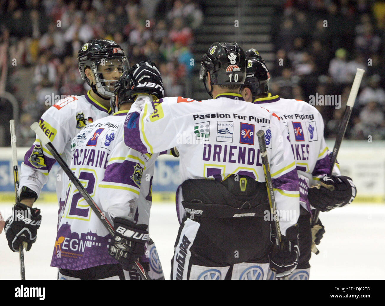 Augsburg, Germany. Nov 17, 2013 joy of the Krefeld player after the 3:3 equalize.Augsburger Panther vs Krefeld Pinguine, Stock Photo