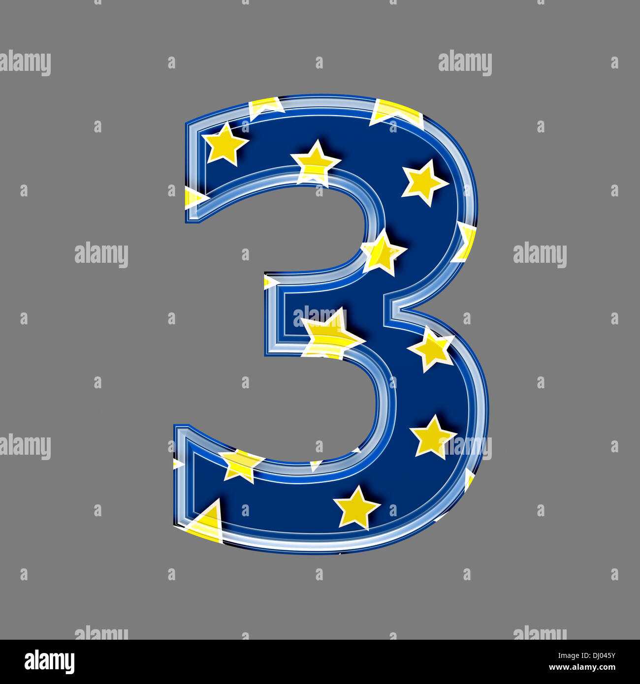 Three dimensional digit with star pattern - 3 - Stock Image