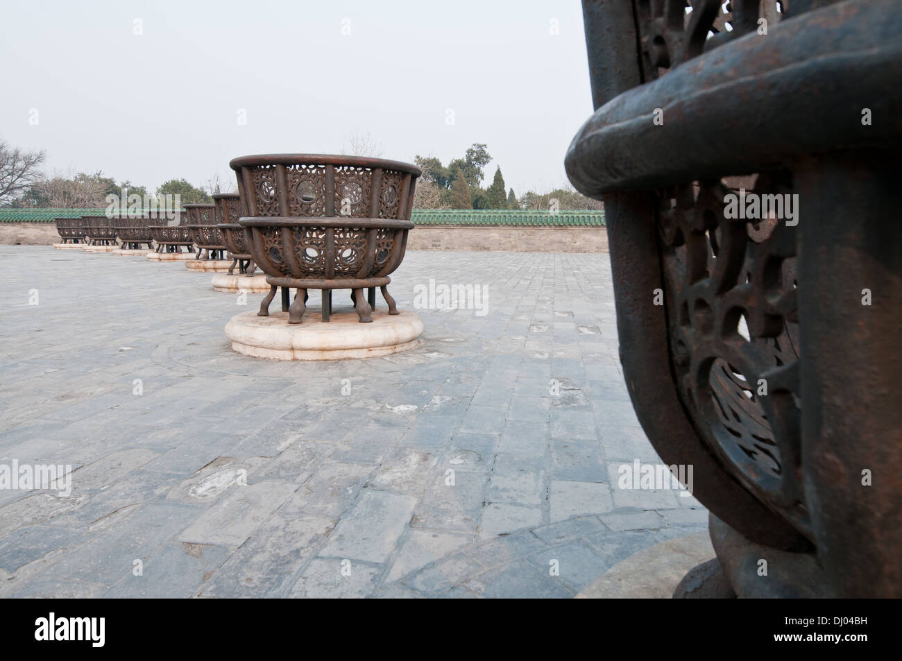 Eight iron stoves for burning the offerings in taoist Temple of Heaven, Chongwen District Beijing, China - Stock Image