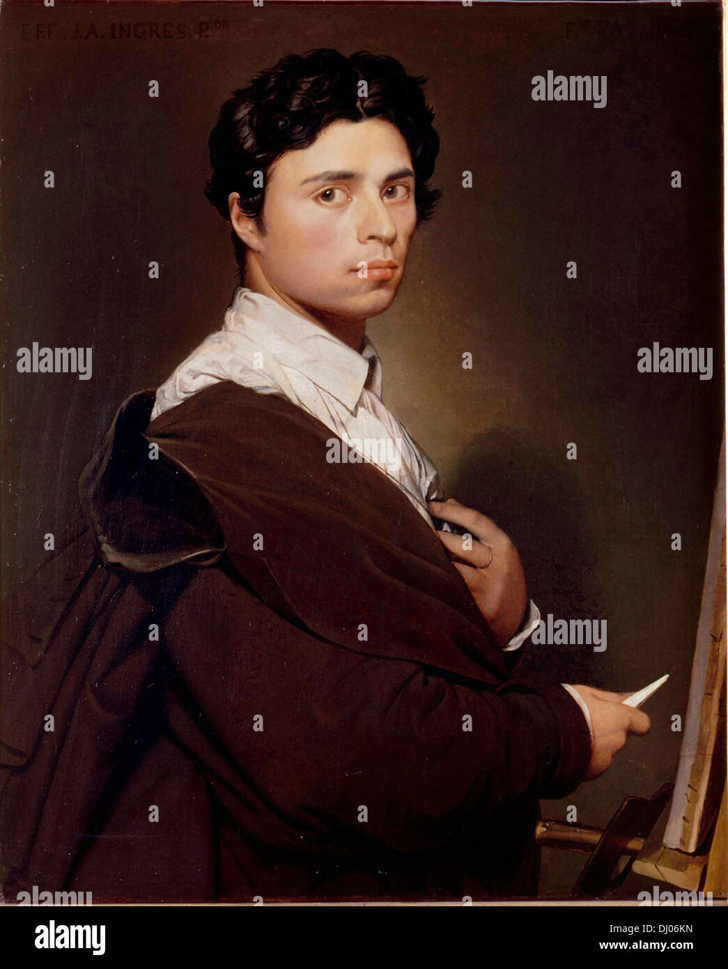 Jean Auguste Dominique Ingres, painter, self portrait, French Neoclassical painter - Stock Image