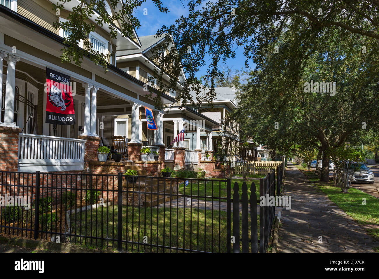 Houses North Pearl Street in the historic Springfield district of Jacksonville, Florida, USA - Stock Image
