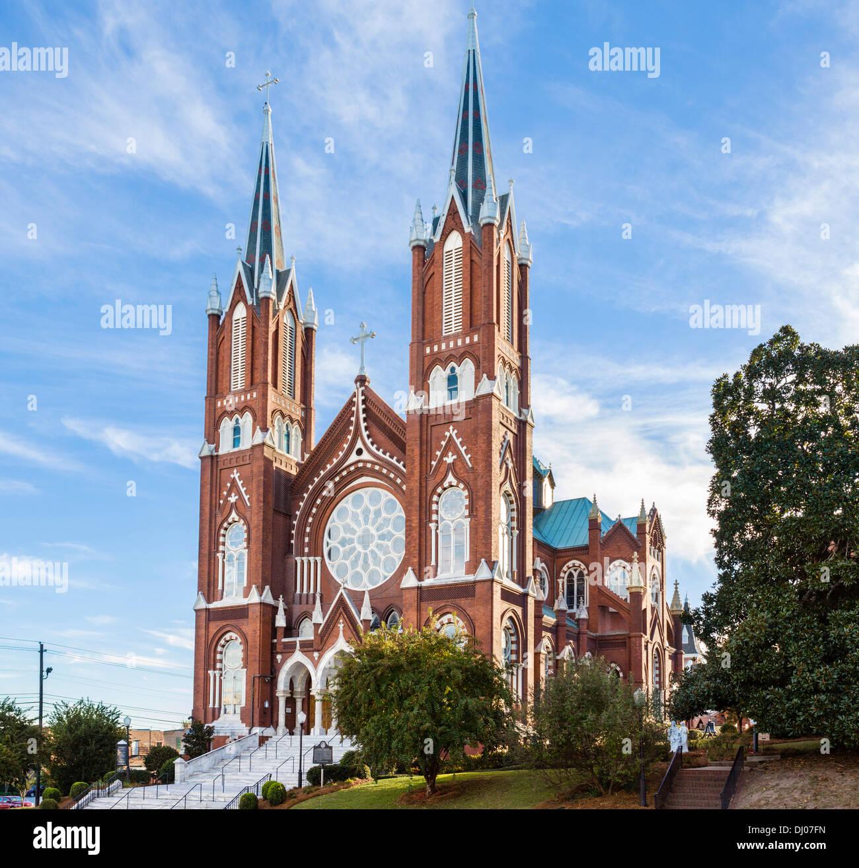 St Joseph Catholic Church on Poplar Street in downtown Macon, Georgia, USA - Stock Image