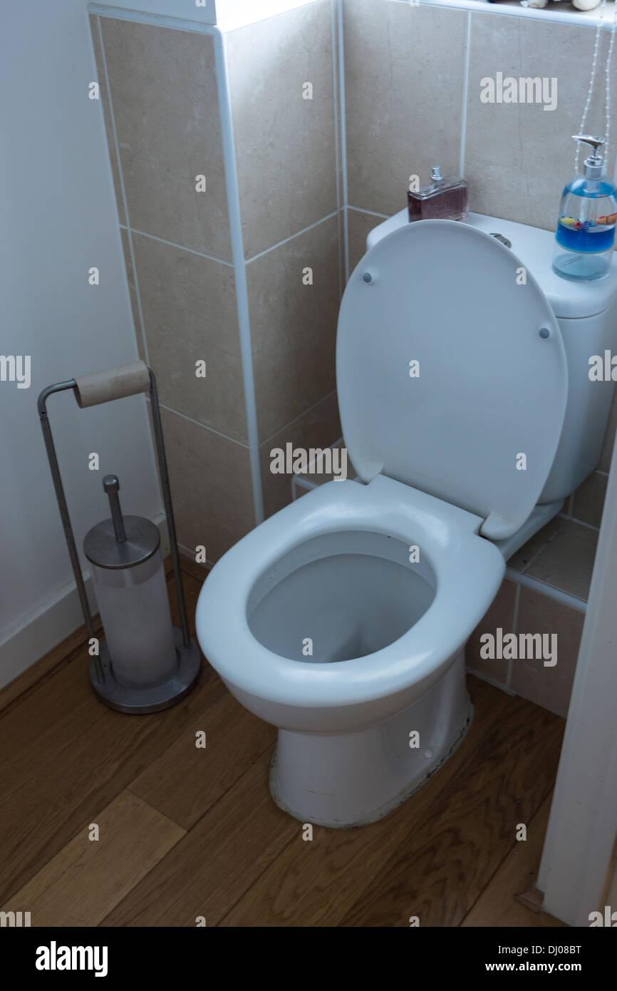 engineered wood floor toilet bathroom tiles Stock Photo