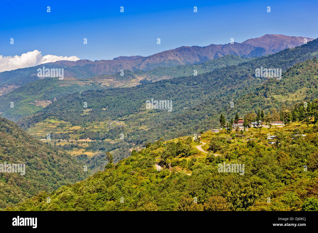 Landscape of Bhutan with mountains and forests - Stock Image