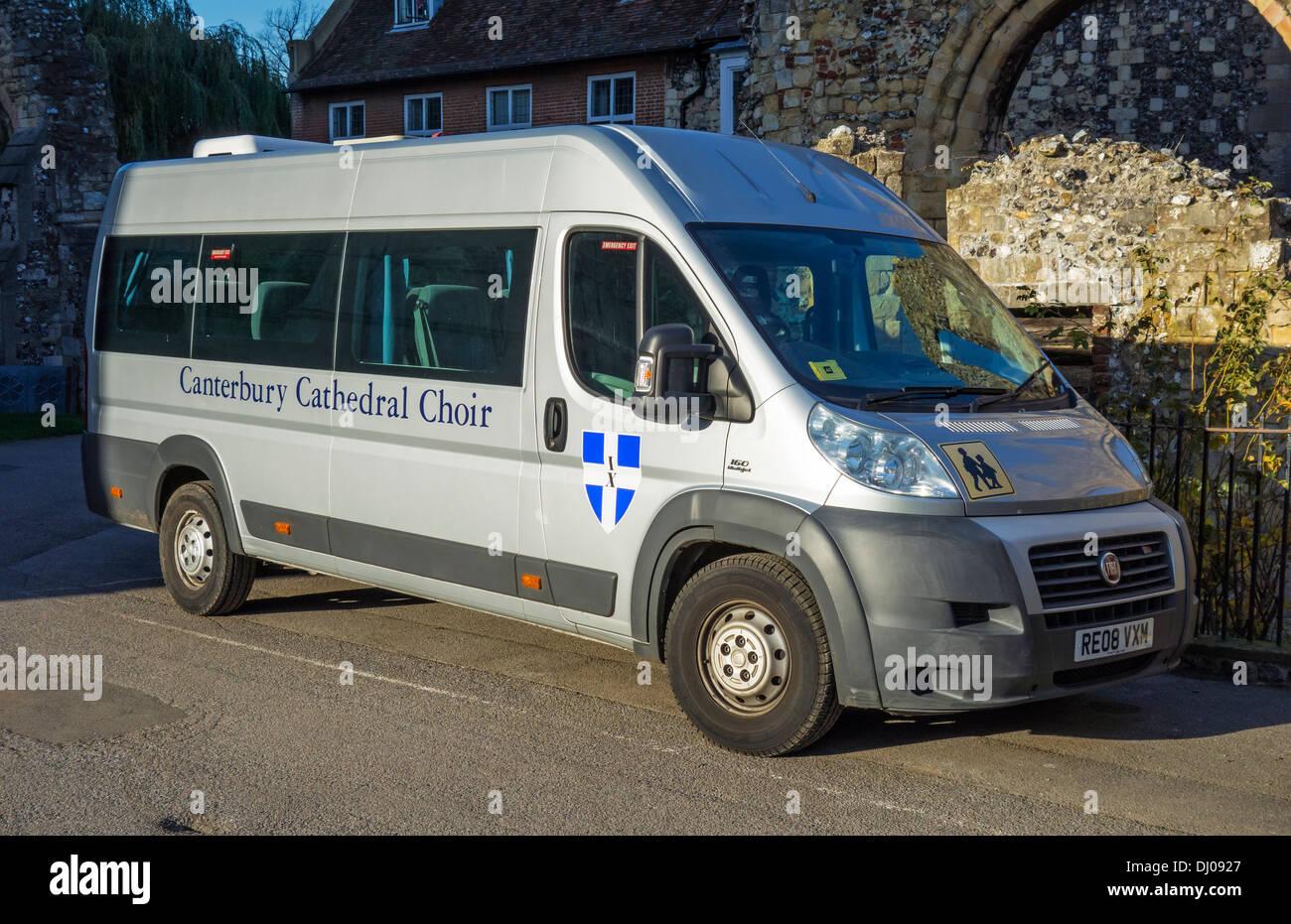 Canterbury Cathedral Choir Fiat Minibus - Stock Image