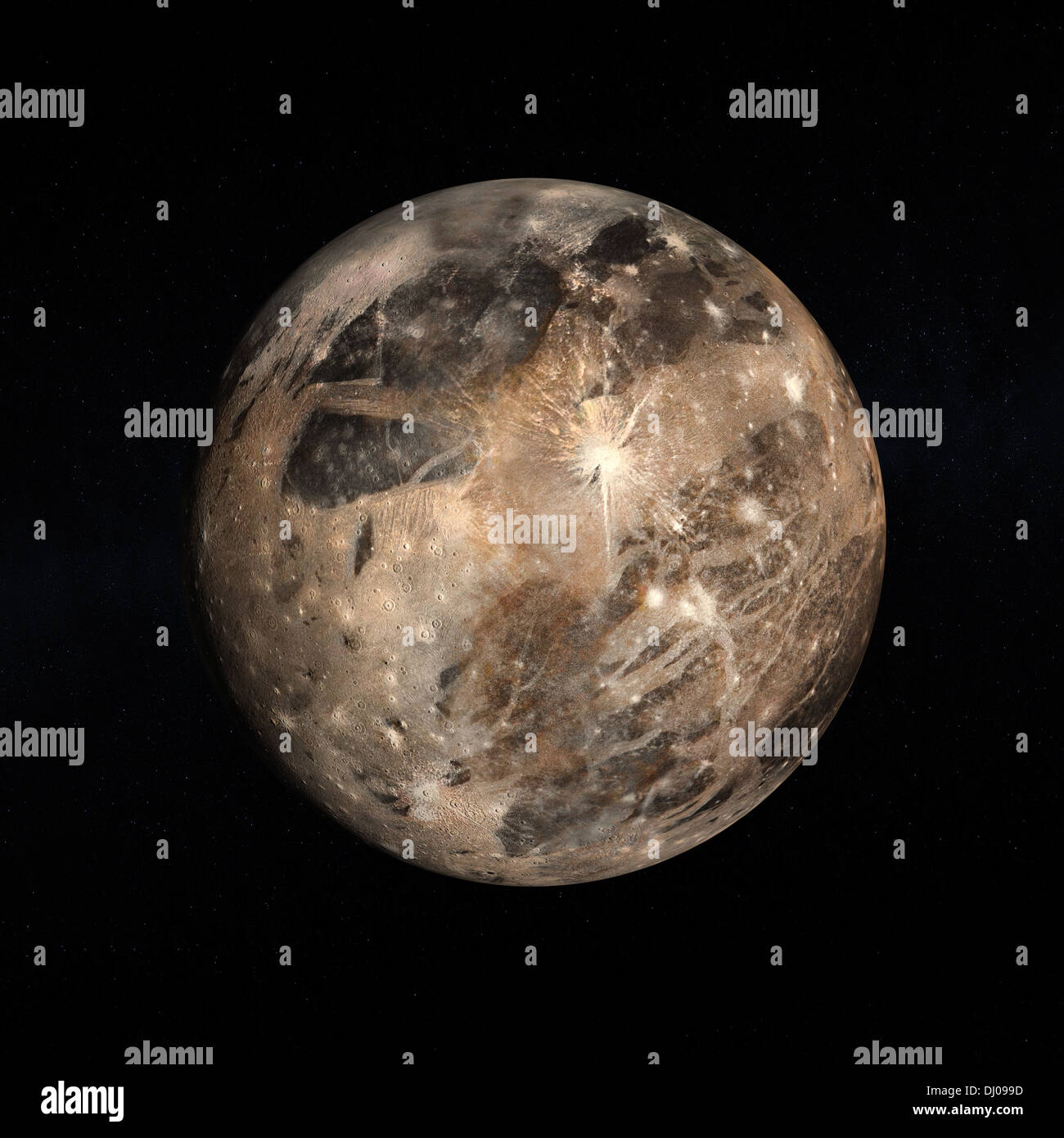 A rendered Image of the Jupitermoon Ganymede on a starry background. - Stock Image