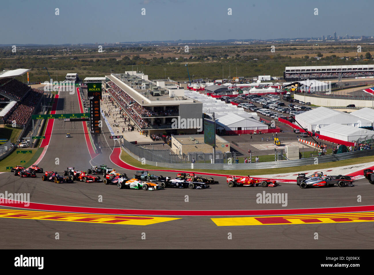 The first lap of the Formula 1 United States Grand Prix at the Circuit of the Americas track near Austin, TX. - Stock Image