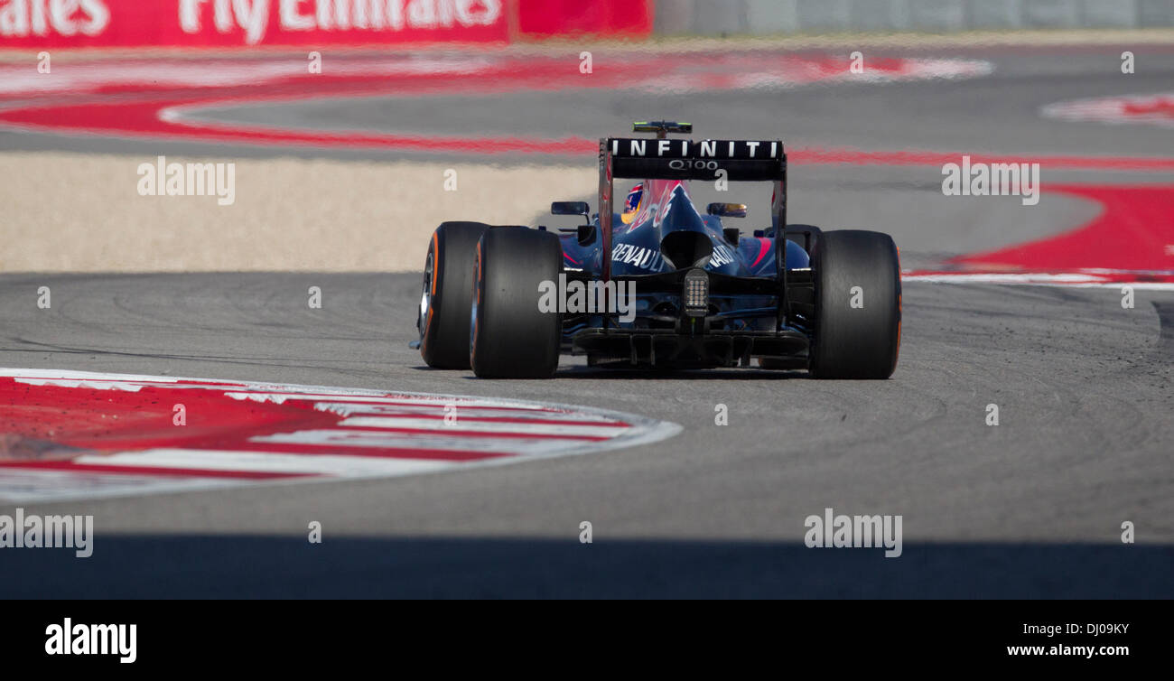 Sebastian Vettel heads into turn 5 at the Formula 1 United States Grand Prix at the Circuit of the Americas near Austin, TX - Stock Image