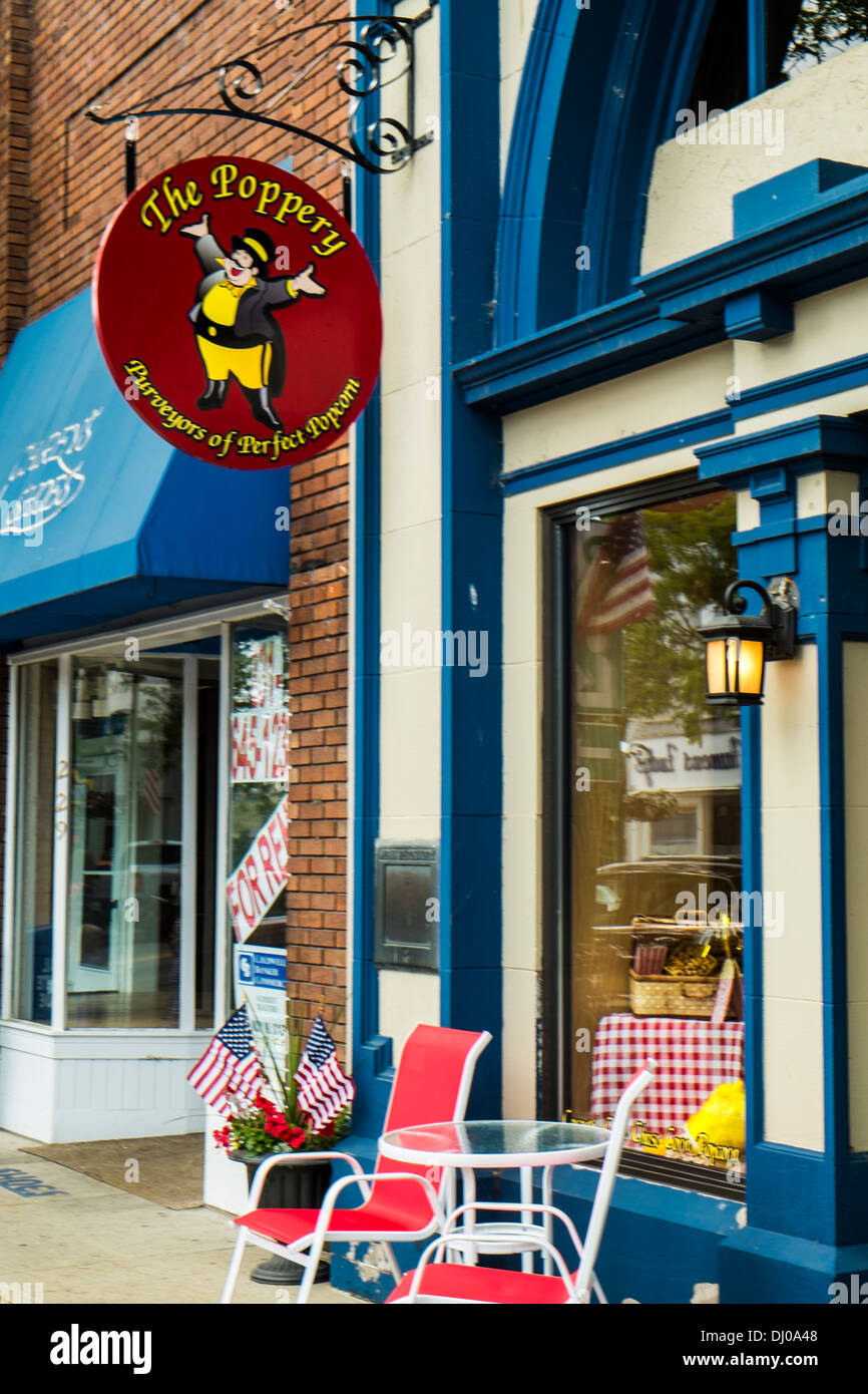Storefront in downtown Charlevoix, Michigan, popular with tourists and other visitors - Stock Image