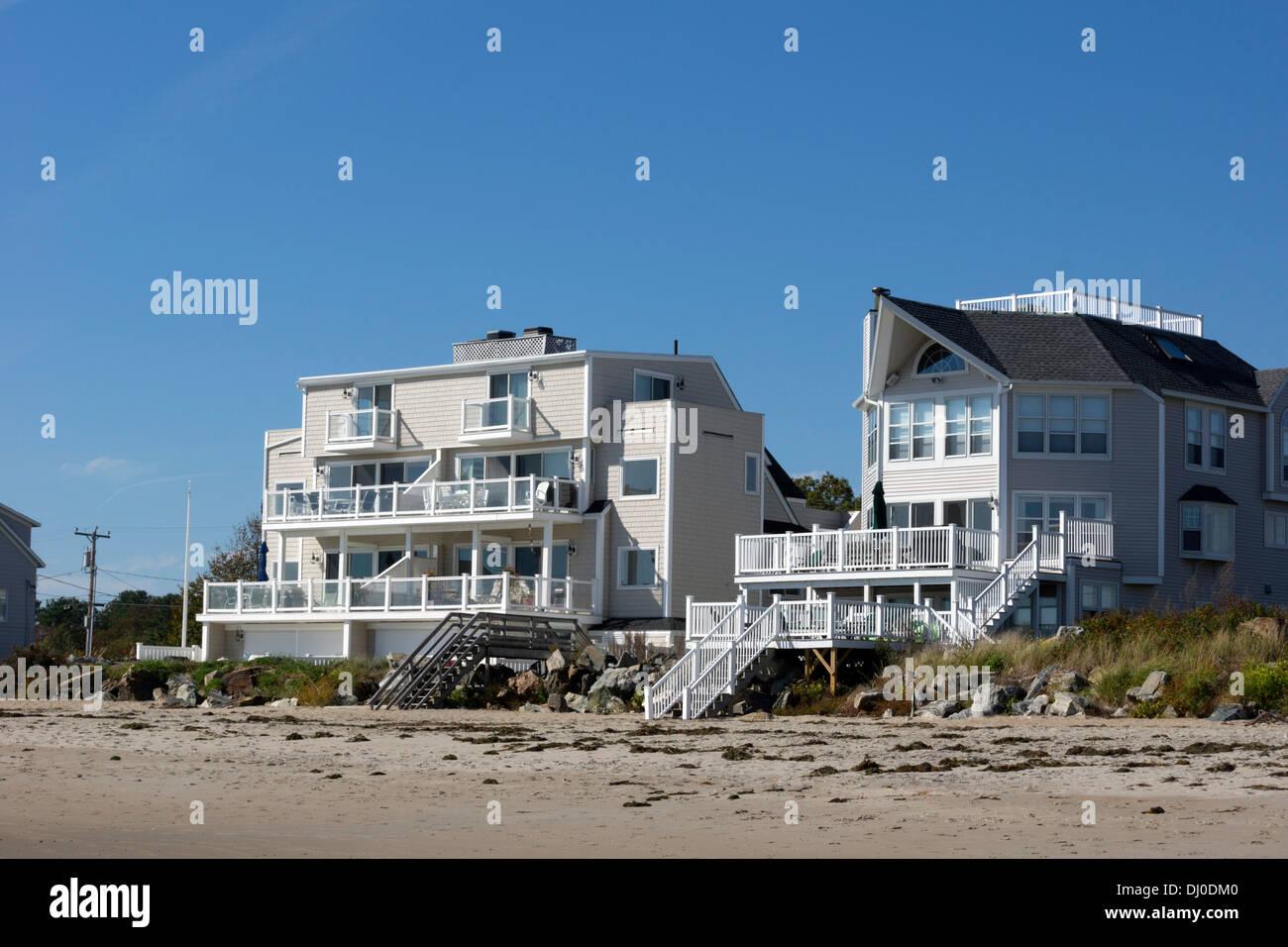 Beach houses at Hampton Beach, New Hampshire, USA Stock Photo