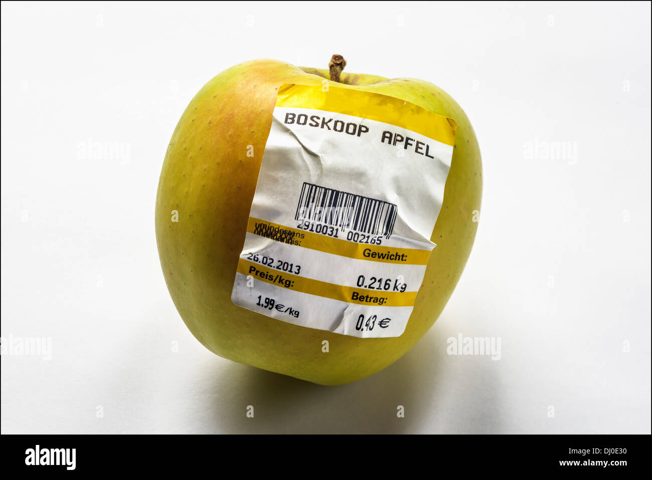 One Belle De Boskoop Apple With German Bar Coded Label Showing Weight Stock Photo Alamy