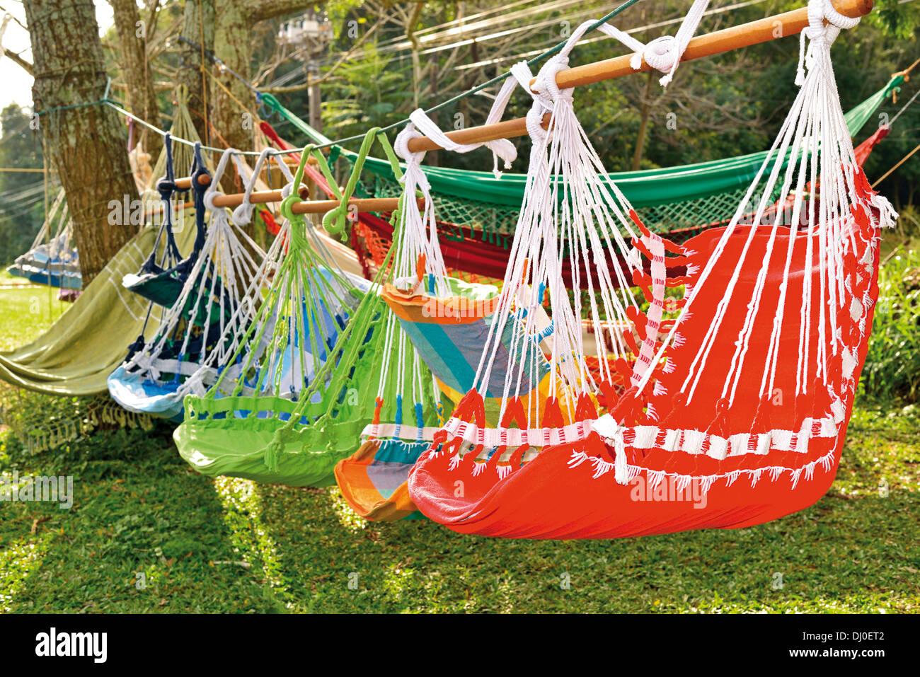 Brazil, Iguassu National Park: Colorful hammocks along the street  for sale as souvenirs - Stock Image