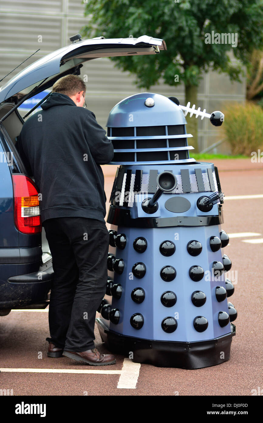 Ray Hyde from Barnsley assembles one of the 20 Daleks displayed at the 'Science of the Timelords' event are assembled at The National Space Centre at Leicester to celebrate the 50th Anniversary of Dr Who. - Stock Image